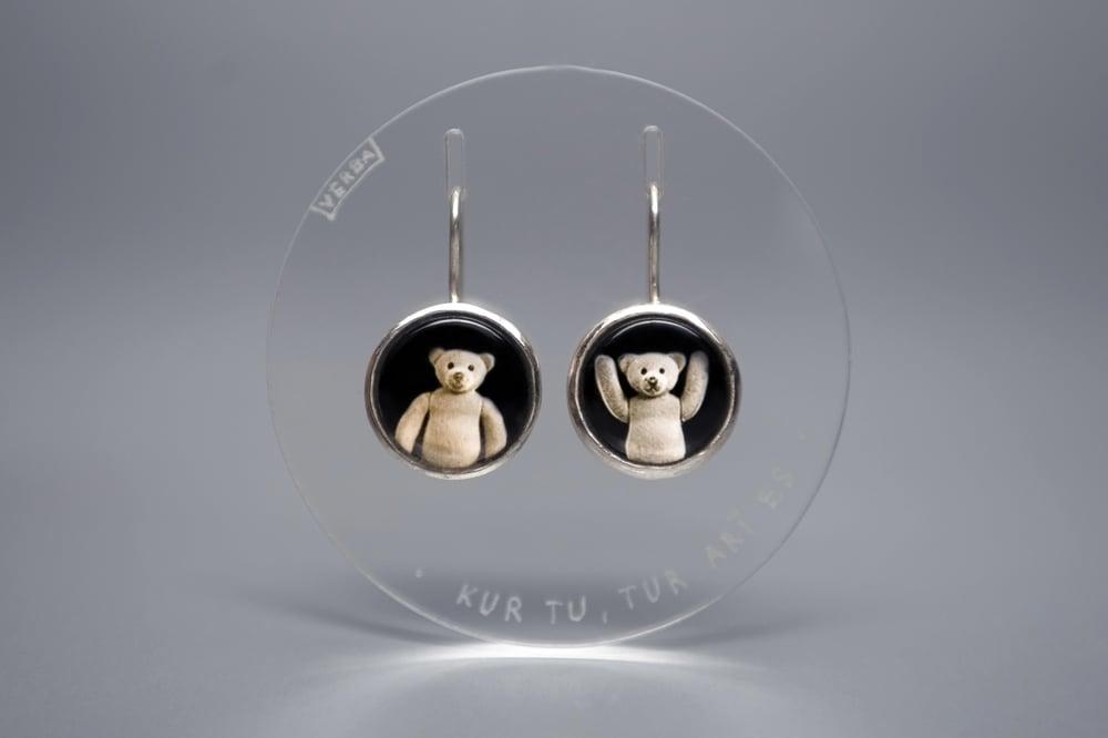Image of teddy-bears silver earrings with photos, rock crystal UBI TU, IBI EGO