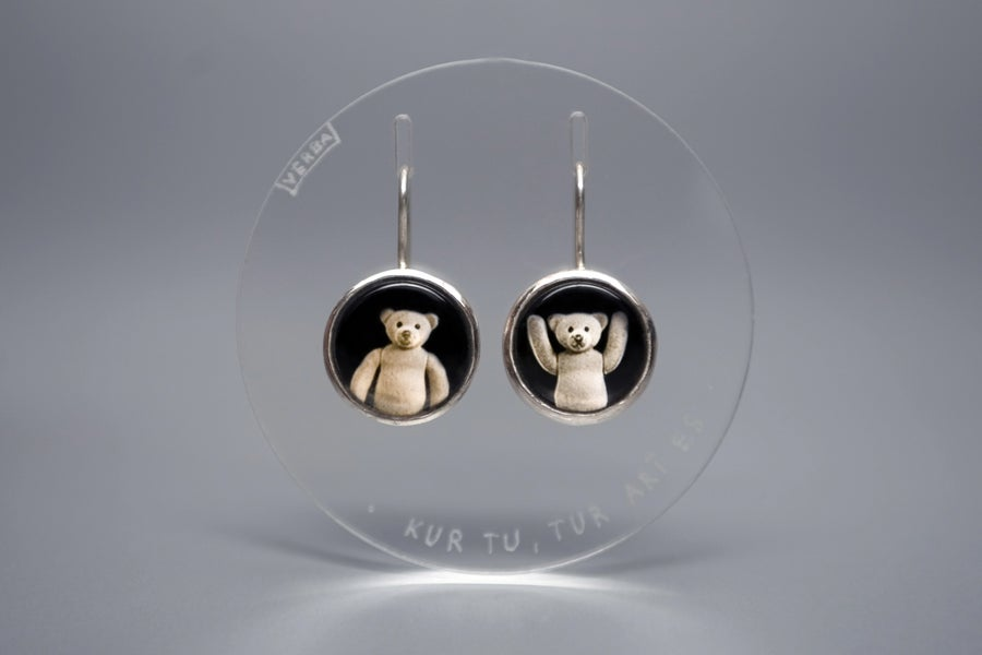 Image of teddy-bears silver earrings with photos, rock crystal UBI TU, IBI EGO