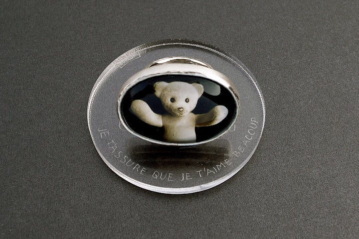 """Image of """"Surrounds me with.."""" teddy-bear's silver ring with photo and rock crystal  · ТOTUM MĒ.. ·"""
