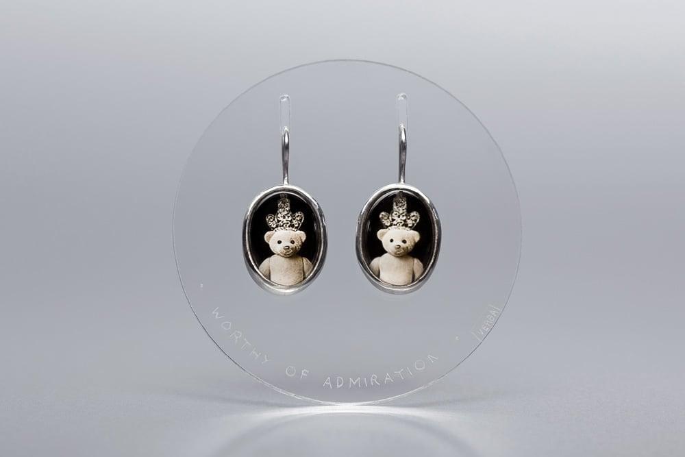 Image of teddy-bears silver earrings with photo, rock crystal DIGNUS ADORARI