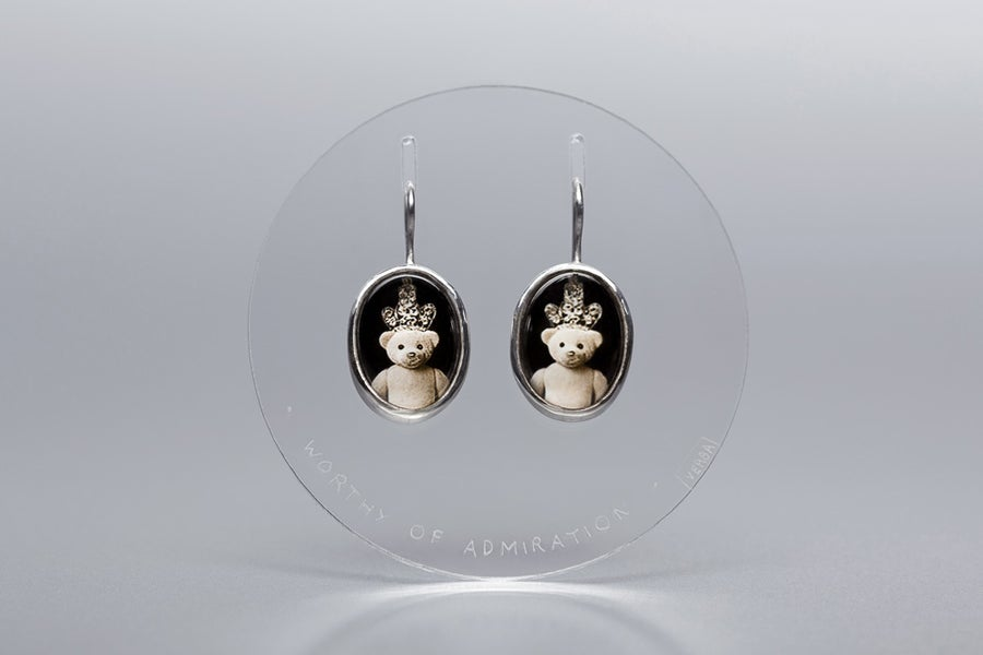 Image of teddy-bears silver earrings with photo, rock crystal DIGNUS ADORARI