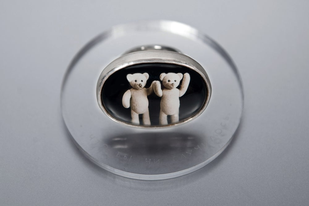 Image of teddy-bear's silver ring with photo, rock crystal UTQUMQUE RES CECIDERIT