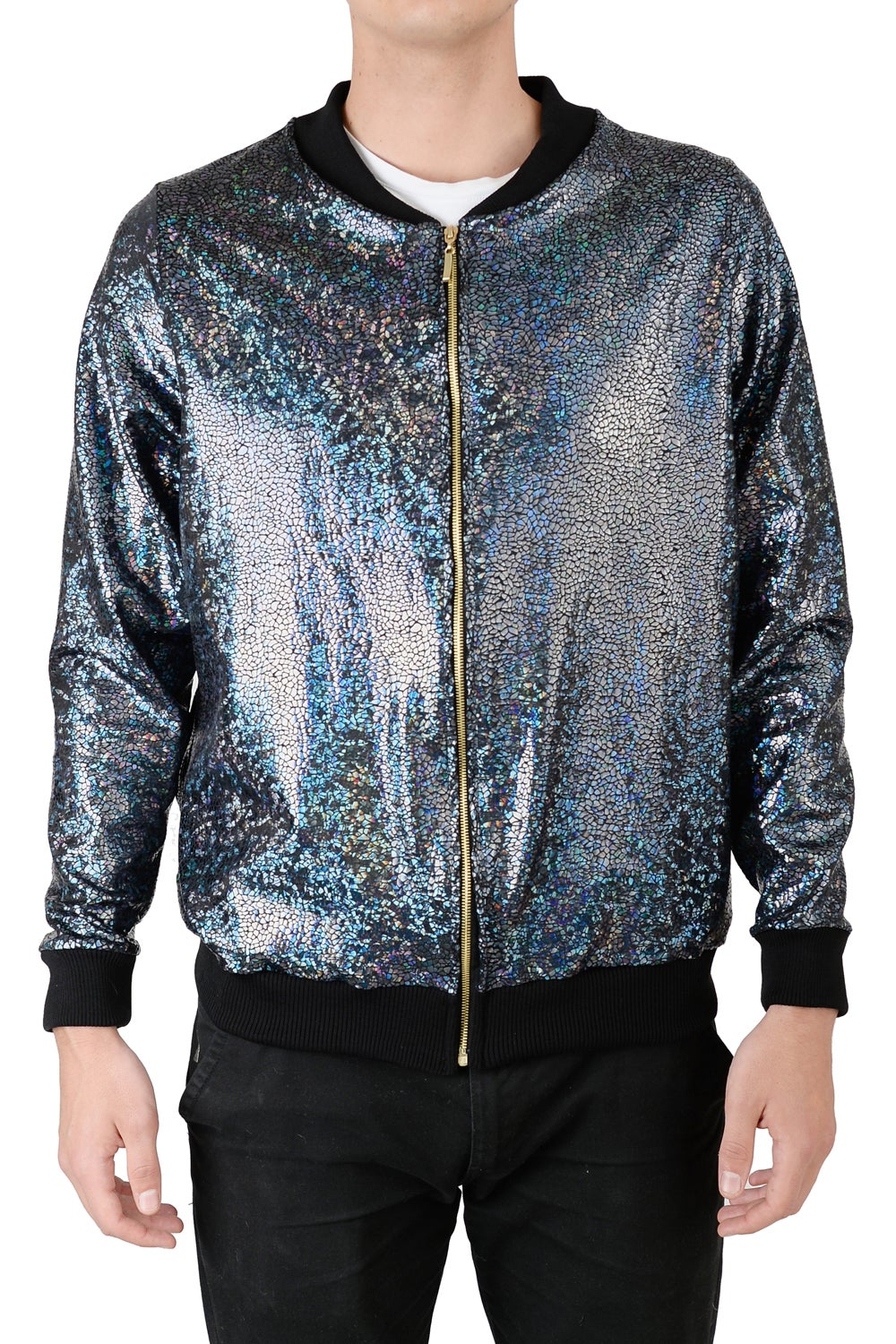 Image of Mens Black Disco Bomber Jacket