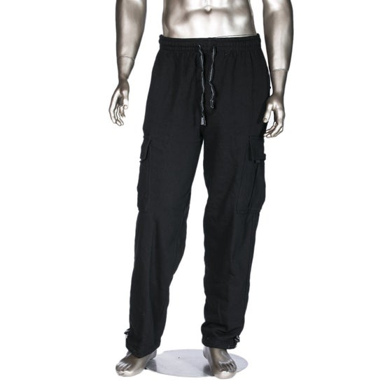 Image of Black Heavyweight Fleece Cargo Pants (3 pieces)