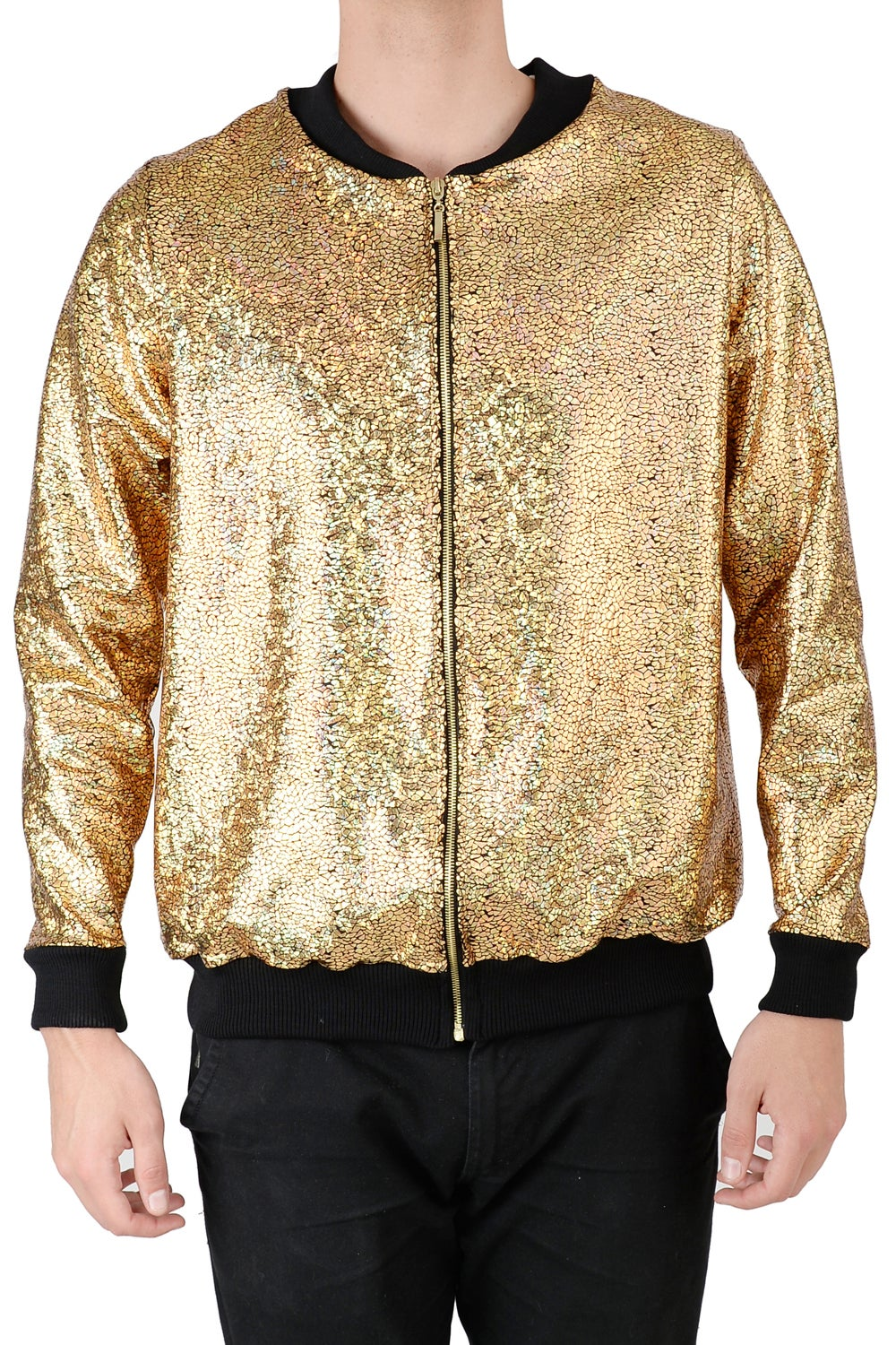 Image of Mens Gold Disco Bomber Jacket