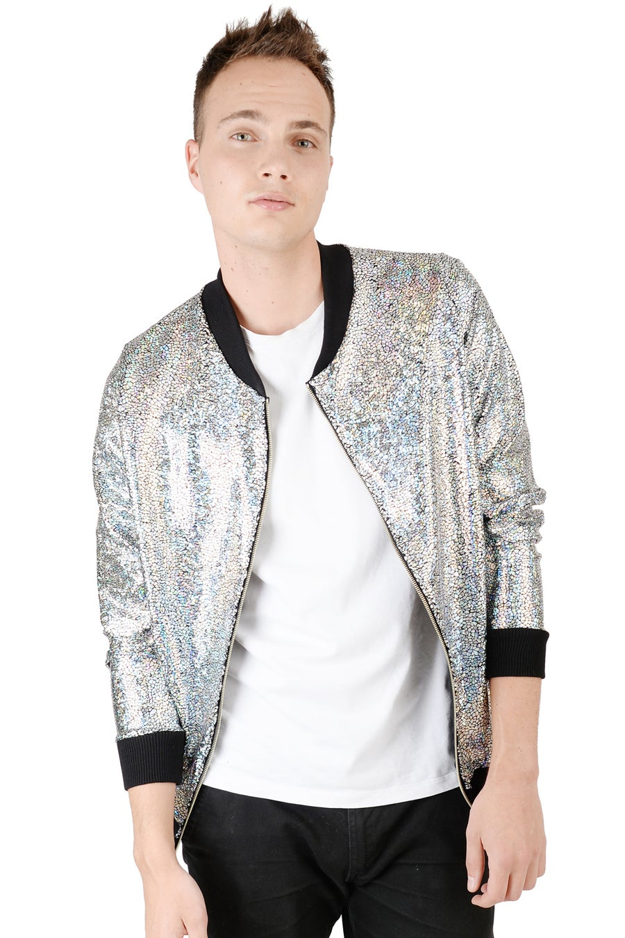 Image of Mens Silver Disco Bomber Jacket