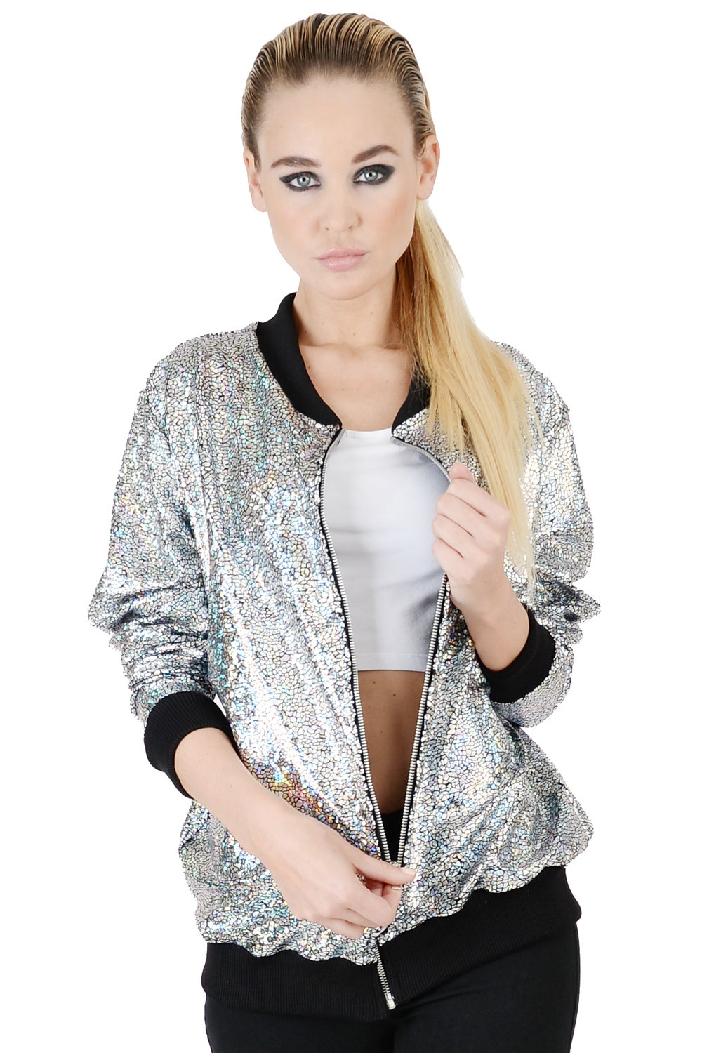 Image of Womens Silver Disco Bomber Jacket