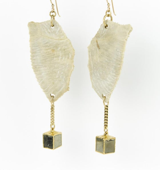 Image of KAIRU fossilized  turtle shell earrings with pyrite cubes