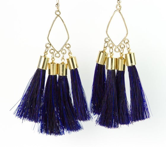 Image of Navy horsehair dangle earrings $85