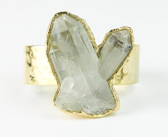 Image of Double quartz point cuff bracelet