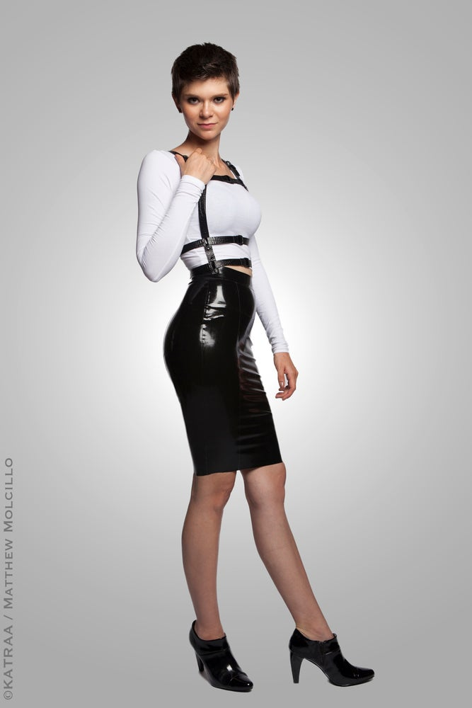 Image of Serpens Vitale • Six Panel Latex Pencil Skirt