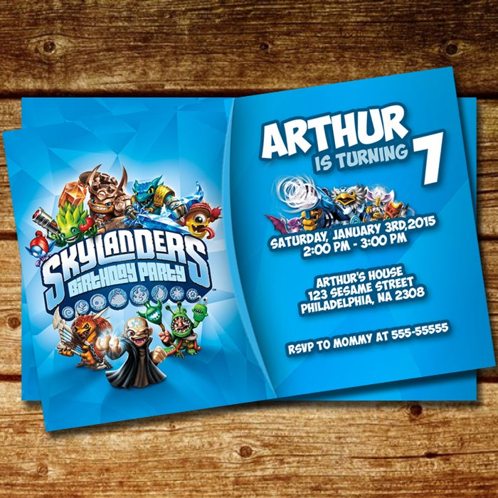 Image Of BD 087 Skylanders Inspired Birthday Invitation Copy