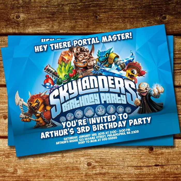 Image Of BD 088 Skylanders Blue Ice Birthday Invitation Copy