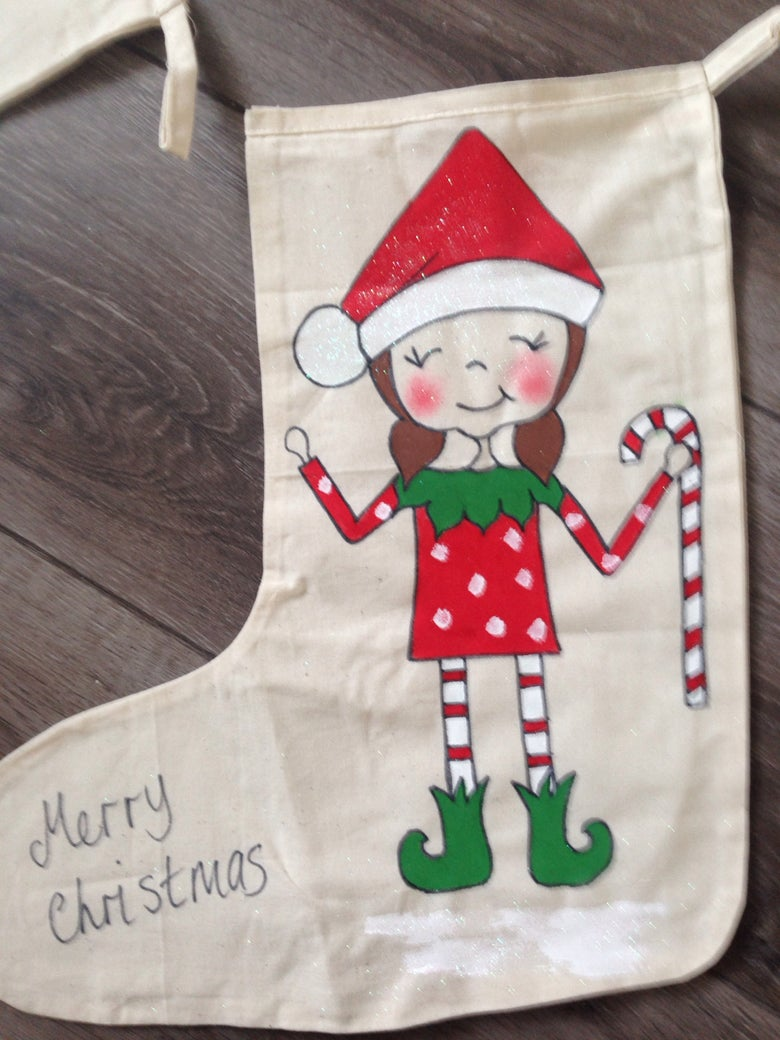 "Image of Christmas Elf Girl stocking 14"""