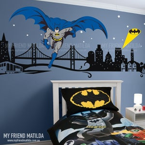 Image of Batman Boys Wall Decal Super Hero Themed Room