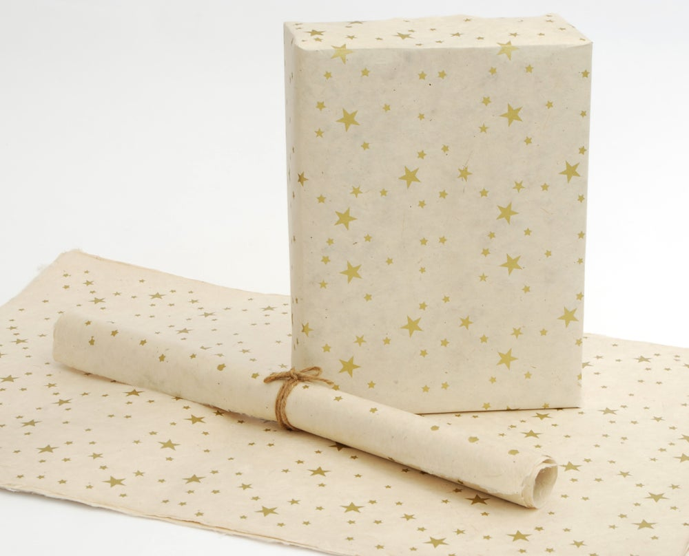 Image of Fair Trade Lokta Wrapping Paper, Natural with Gold Stars