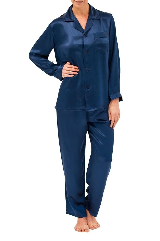 Image of Silk Pyjamas - Navy