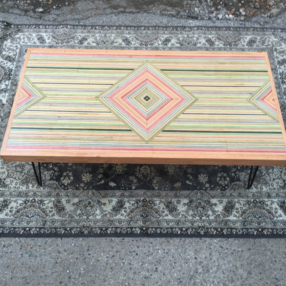 Image of Gleaming the Cube, recycled skateboard coffee table