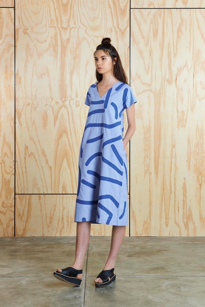 Image of Big Creases Dress in Light Violet/Blue