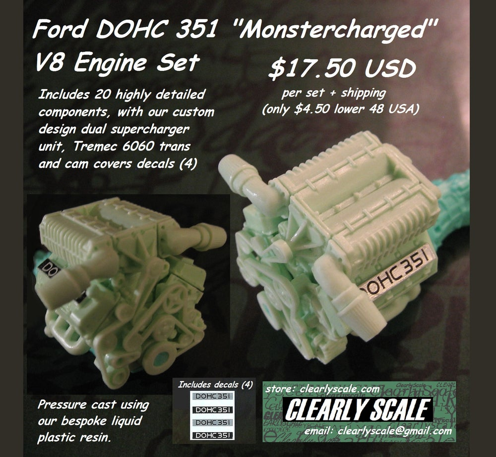 "Image of Ford DOHC 351 ""Monstercharged"" V8 + Tremec 6060 Engine Set with Decals (Clearly Scale Custom)"