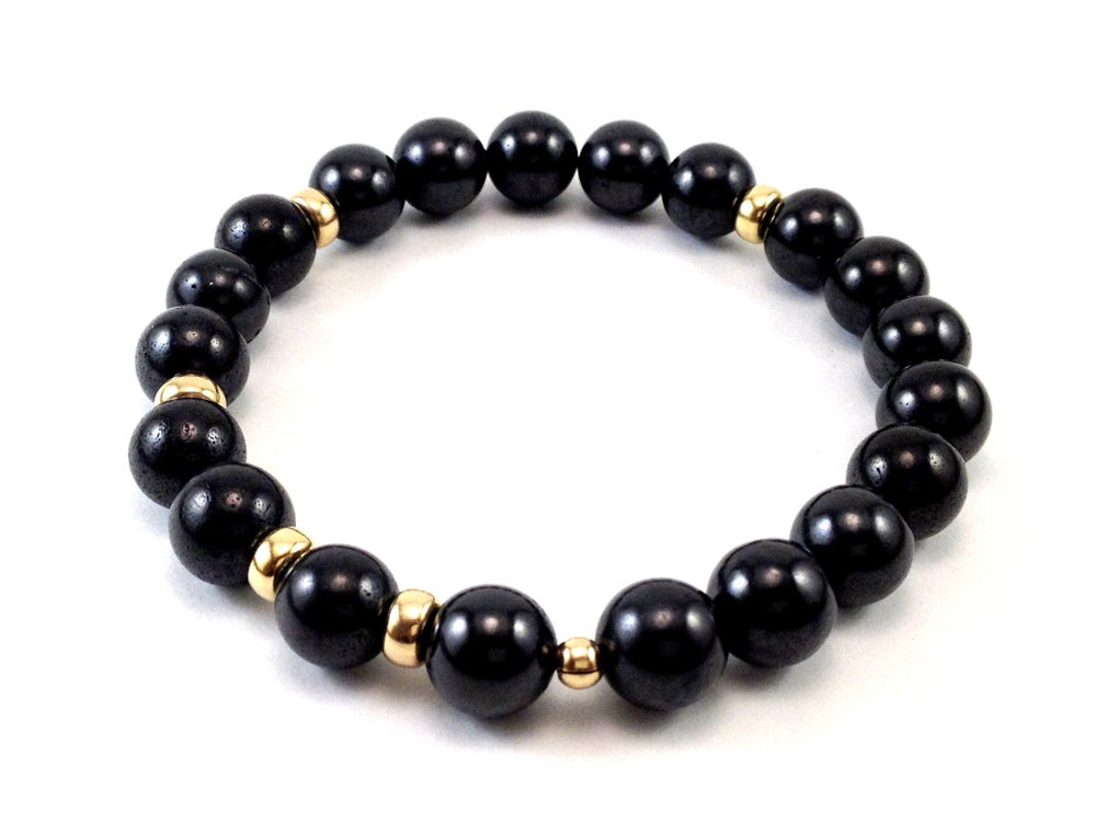 Image of Men's Elliot Wave Grounding / Shungite Bracelet Gold