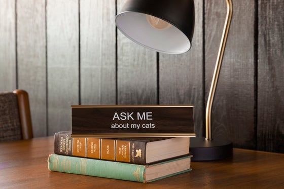 Image of ASK ME about my cats nameplate