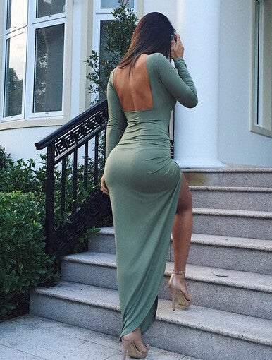 Image of SEXY BACKLESS IRREGULAR LONG SLEEVE DRESS