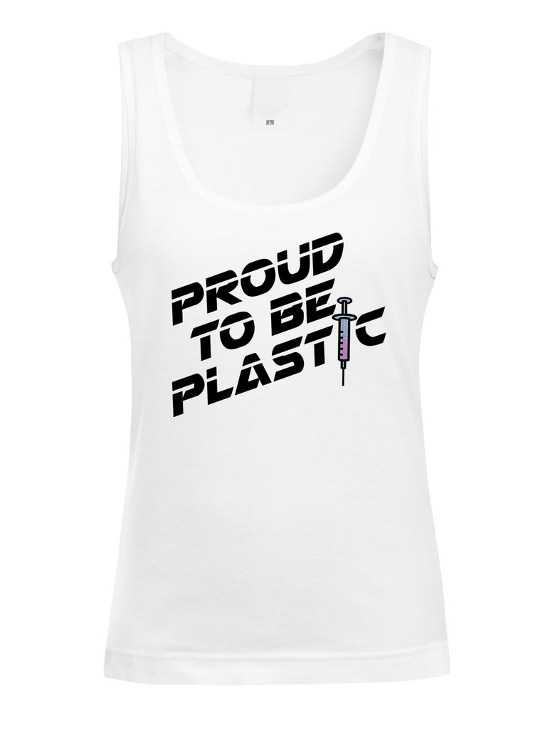 "Image of ""PROUD TO BE PLASTIC"" OFFICIAL  JUSTIN JEDLICA TANK"