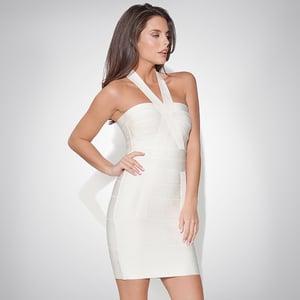 Image of SYNS CROSS NECK BANDAGE DRESS