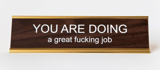 Image of YOU ARE DOING a great fucking job nameplate