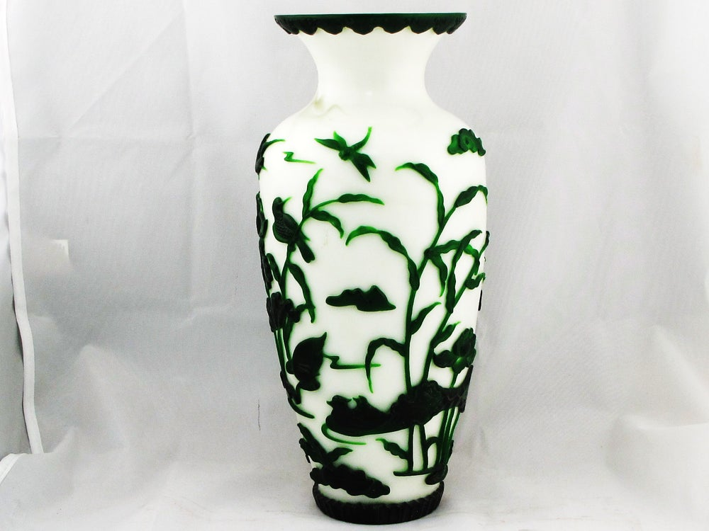 Vintage Chinese White Peking Glass Vase W Green Overlay Of Birds