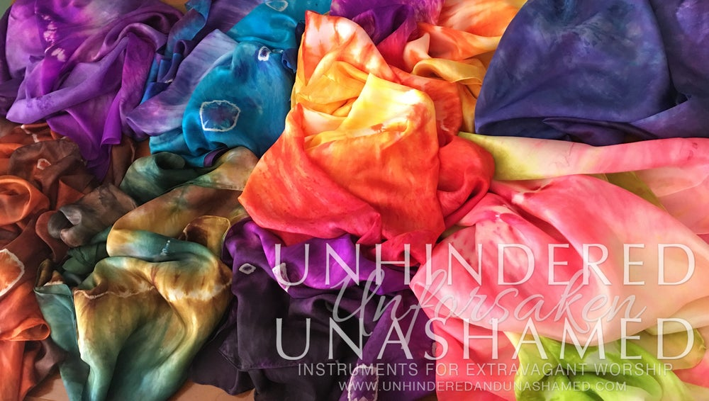 Image of HAND-DYED Silk Flags