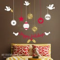 Christmas Ornaments - joy, dove, peace, Removable Window or Wall Decal
