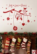 Holiday Branch - Joy, Love, Peace - wall decal for christmas