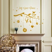 Image of Holiday Branch - Joy, Love, Peace - wall decal for christmas
