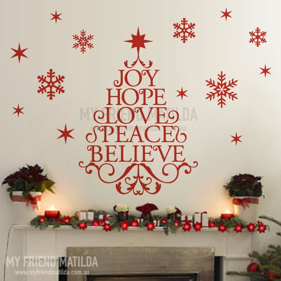 wording christmas tree with snow flakes wall decal for christmas