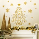 Wording Christmas tree with snow flakes wall decal for Christmas wall and window decal