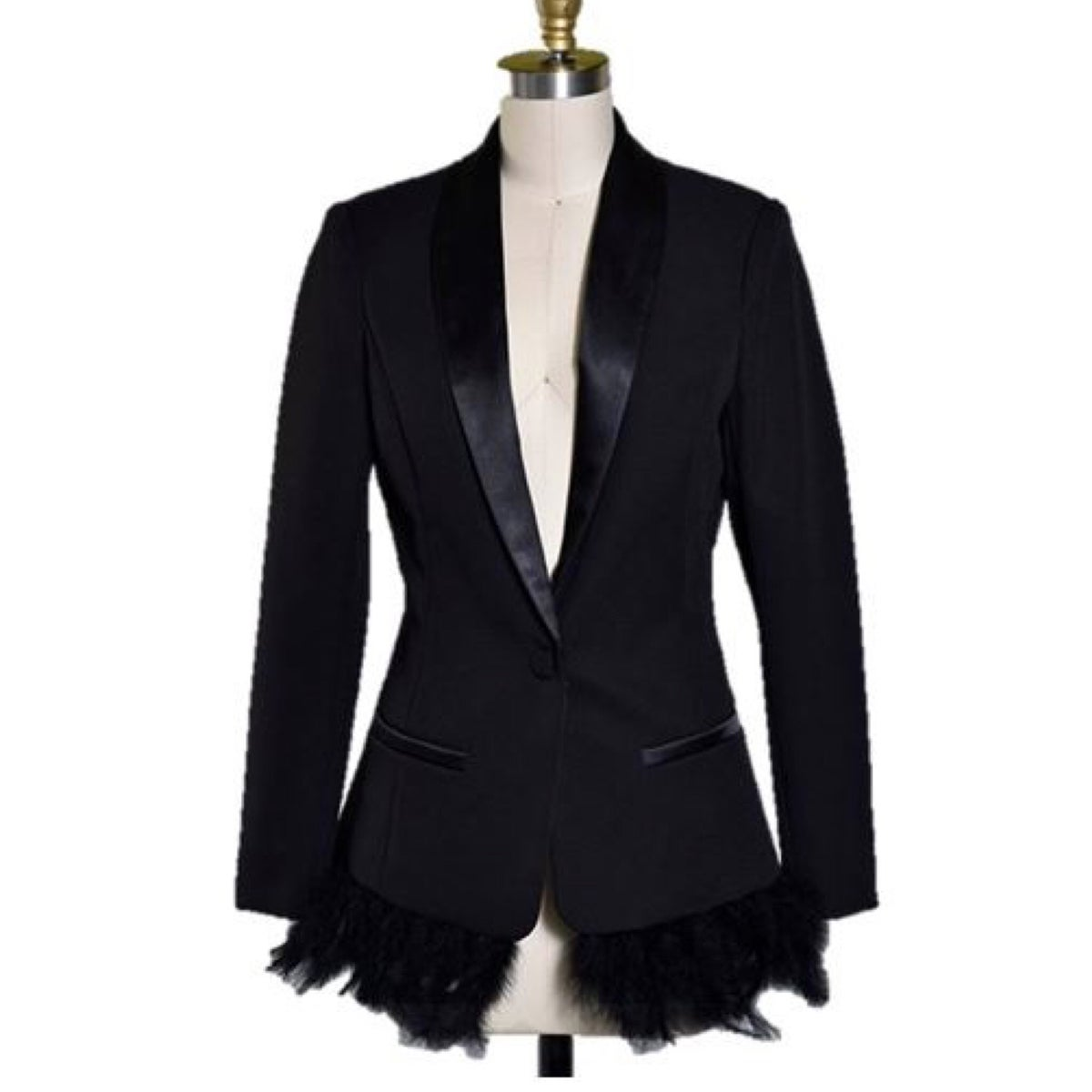 Image of Feather Trimmed Tuxedo Blazer