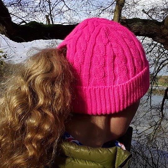 Image of The 'Sports' Cosy Ponytail Hat - Pinkie -Greenie - Tangerinie