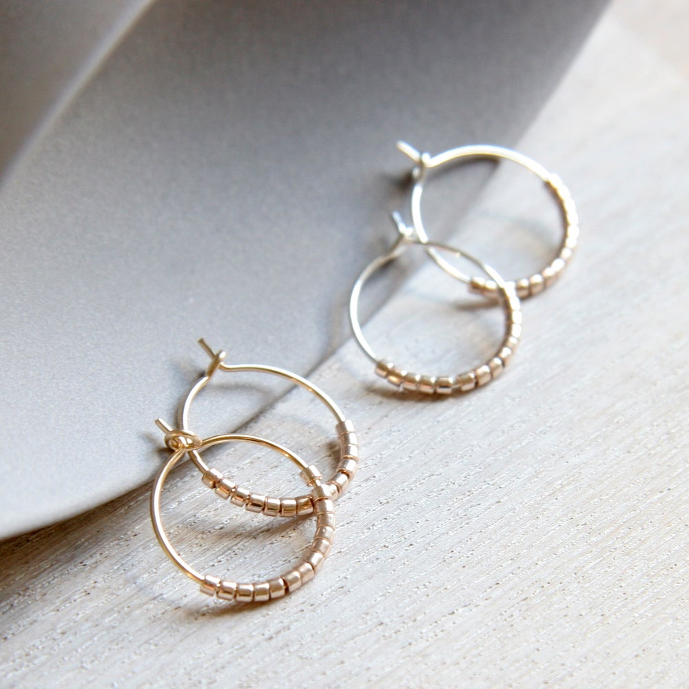 Image of Petite Beads Hoop Earrings
