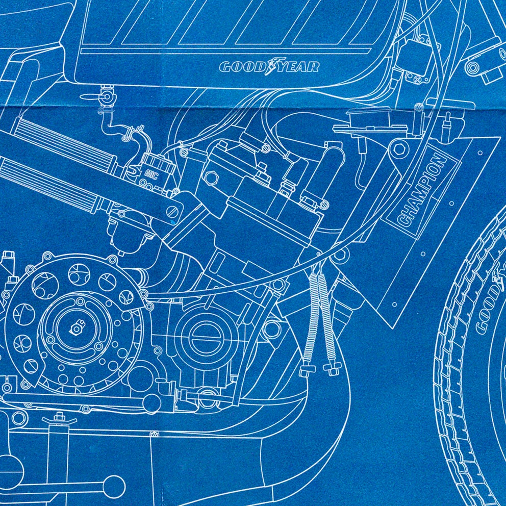 Yamaha Tz700 Giclee Blueprint Sideburn Engine Diagram Image Of