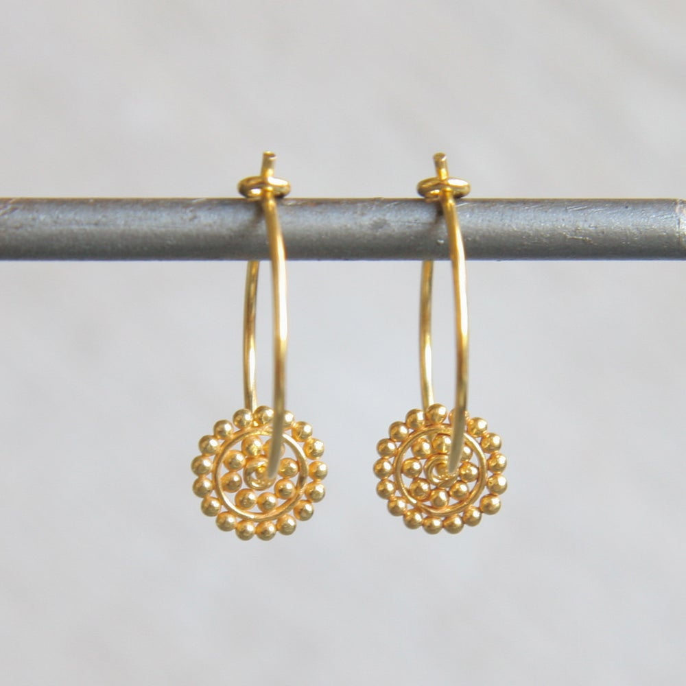 Image of Dotty Disc Gold Hoop Earrings