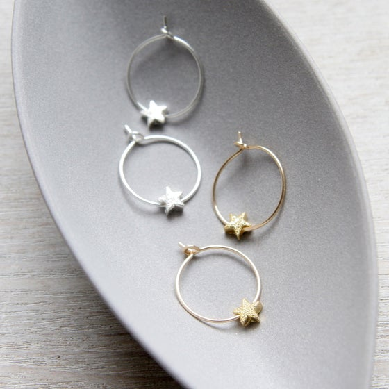 Image of Petite Star Hoop Earrings