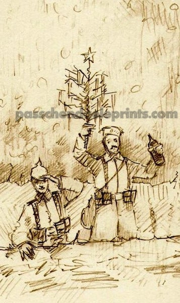 Image of THE CHRISTMAS TRUCE ~ The Germans at the Parapet with Xmas tree...