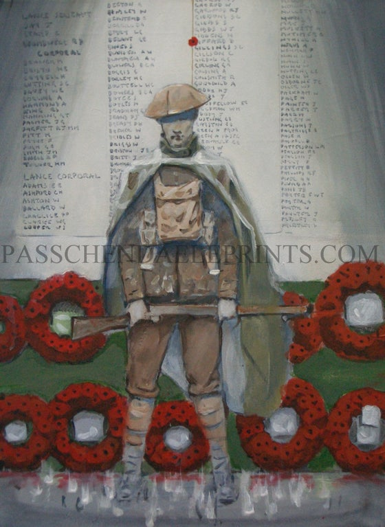 Image of 'MAN AT ARMS' depicting the ghost sentry at the Menin Gate, Ypres...
