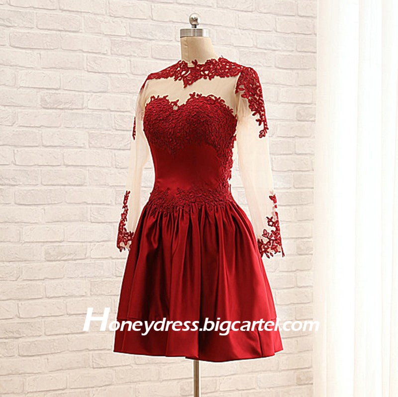 Image of Red Lace Appliques Cocktail Dress with Long Sleeves