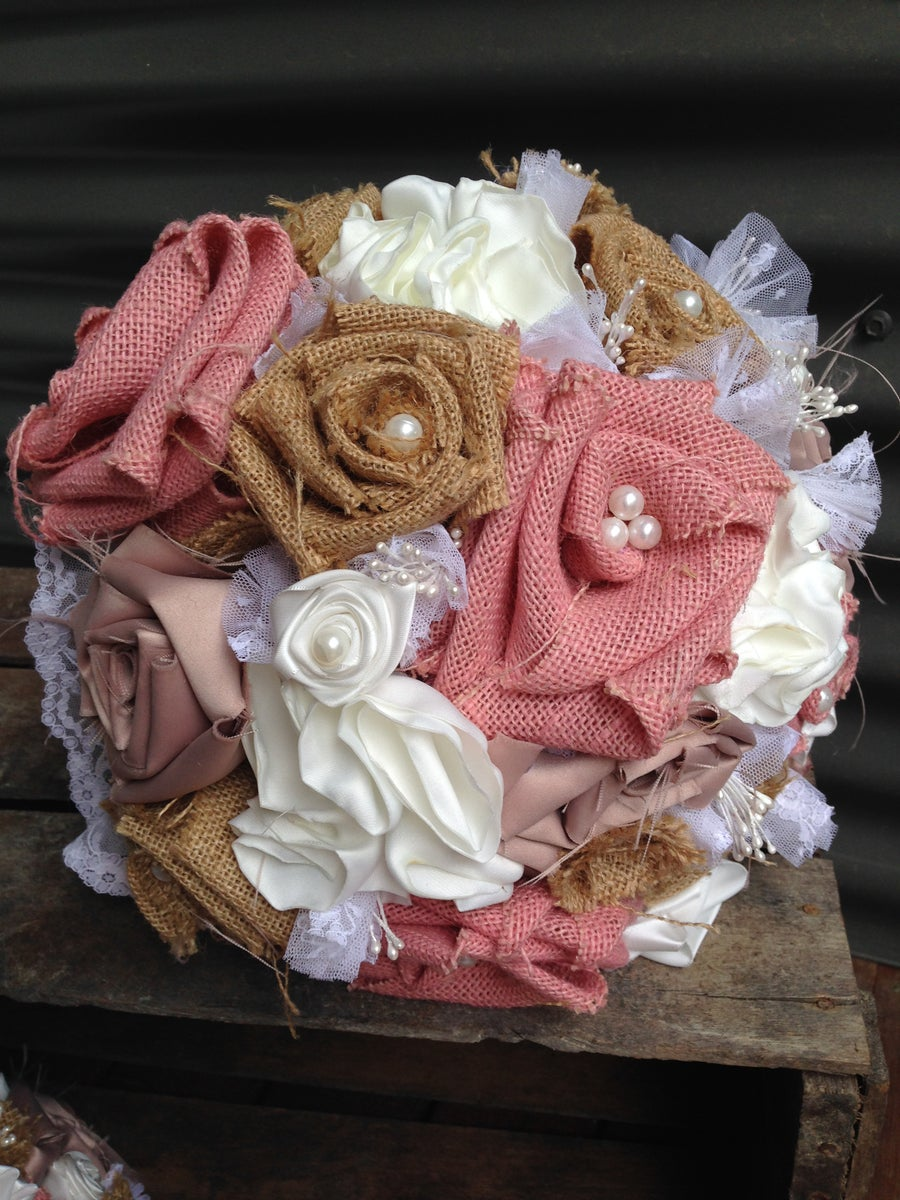 Image of Hessian and Silk Bridal Bouquets
