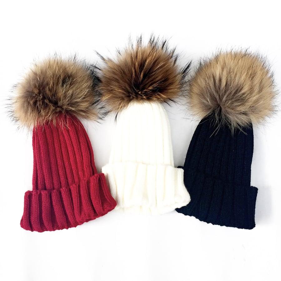 Image of HiBaby Fur Pom Pom Beanie