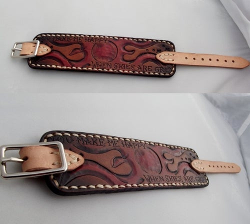 Image of Custom Hand Tooled Leather Cuff Bracelet Wristband