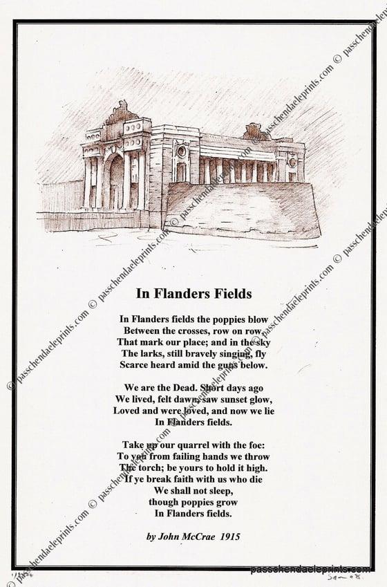 Image of In Flanders Fields ~ John McCrae ( portrait Menin Gate   )